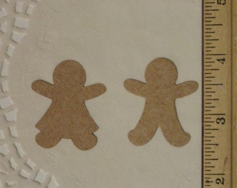 Set of 20 DYI Kraft Color Ginger Bread Boy and Girl Die Cuts for Christmas or Holiday Card Making, Christmas Decor, Gift Tags or Wrap