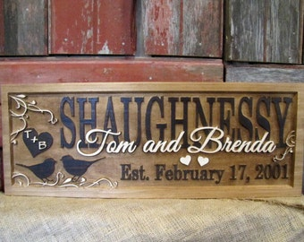 Personalized Couples Name Signs custom Wedding gift Love Birds CARVED Wooden Last name 3d Sign Established Anniversary personalized RUSTIC
