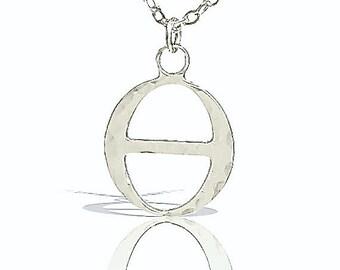 silver Theta Necklace, Theta healing jewelry, simple Necklace, dainty silver necklace, hammered silver necklace, simple silver necklace