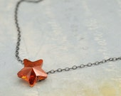 sterling silver star necklace - Star is My Guidance - antiqued sterling silver chain with Swarovski glass crystal shooting star charm