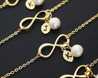 Personalized Bracelet, Infinity Bracelet, Initial Bracelet, Gemstone Bracelet, Friendship Bracelet, Bridesmaid Gifts, Christmas (B-B-0020)