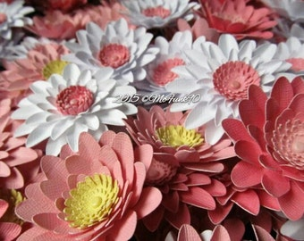 Weddings Paper Gerbera Daisies 50-2 1/2 inch Open Flowers Made to Order Handmade