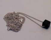 THE CUBE Silver Oxidized Bead Charm Long Chain Vintage New Reproduction