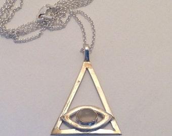 Triangle EYE Glass Cabochon Pendant Super Long Chain Vintage Illuminati AS-IS