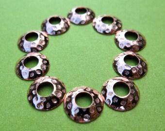 Big hole bead caps in polka dot copper