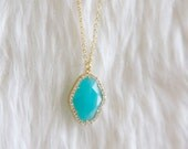 Long Turquoise and Rhinestone Necklace