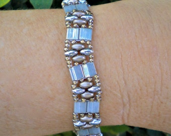 Bracelet Silver Gray Gentle Wave Band