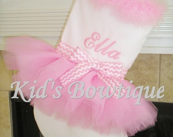 Baby Pink Christmas Stocking - Pink Chevron Christmas Tutu Stocking - Monogrammed Christmas Decoration