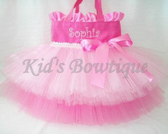 Personalized Dance Bag with Double Tutu Ruffles and Bow - Wedding Flower Girl Tutu Bag Gifts-  Pink Tutu Dance Bags