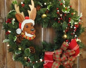 Reindeer Xmas Wreath - Lighted with white lights