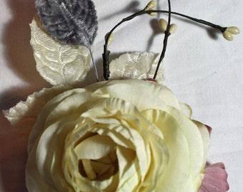 floral headpiece cream and pink flower bridal wedding haiclip headpiece