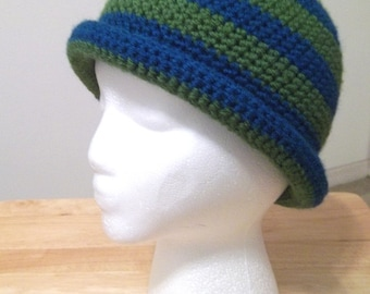 Striped Crochet Hat with a Roll Up Brim Size Small