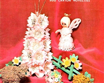 Egg Carton Magic Tree Angel Lion Pig Sheep Lily Poinsettia Wreath Vintage 1970s  Learn How to Make Recycle Styrofoam Craft Pattern Leaflet
