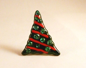 Whimsical sparkly Fused Glass Christmas tree pin, CT147