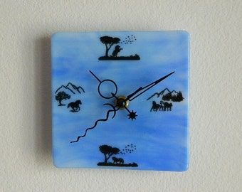 Wild Stallions Fused Glass Wall or Desk Clock, Original Art Piece, CG2