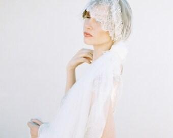 Wedding Veil, Bridal Veil, Lace Mantilla Veil, Mantilla Veil, Ivory Veil, Long Veil, Chapel Length, Beaded Veil, Cathedral Veil - Style 402
