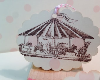 Vintage Carousel Sticker Seals...Pink Polka Dot...Carousel Horse ...Set of 4 ESC