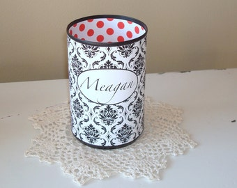 Black and White Damask Personalized Desk Accessories - Polka Dot Monogram Pencil Holder - Personalized Pencil Holder - Pencil Can - 839