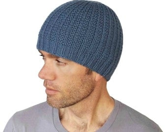 Mens Cashmere Beanie Hat Aiden Merino Wool Mans Knitted Fitted Rib Cap Denim Blue Hand Knit Womens Hat Size M/L Gift Wrapped