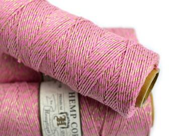 Hemp BakersTwine, 1mm, 205 Feet,  Pink and Gold Metallic Bakers Twine, Gift Wrap, Hemp Twine -T65