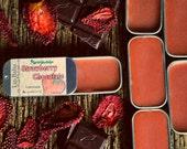 Strawberry Chocolate Lip Balm natural delicious balm in a retro tin. Yummy softening lip balm. SALE