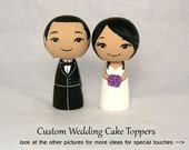 Custom Wedding Cake Toppers Personalized Wood Kokeshi Doll Bride and Groom Funny Cute