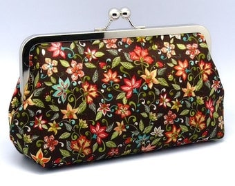 Small yellow and red flowers on brown - Large Clutch Purse (L-100) R1-S1