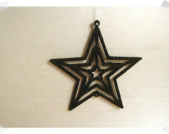 Glittered Black Star Ornament/ Single Or Set of 2*/Craft Supplies*