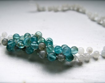 Mermaid Kisses: Apatite, Moonstone and Labradorite Silk Woven Necklace