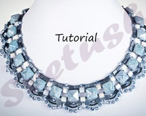 Tutorial Beadweaving Frozen Lake Necklace, English PDF Beading Patern