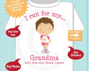 Personalized I Run for my Grandma Children's Tee Shirt or Onesie with Breast Cancer Pink Ribbon (10022014d)