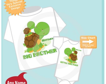 Personalized Set of 2 Big Brother and Little Brother Turtles Tee Shirts or Onesies (10242014d)