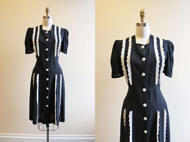 1940s dress vintage 30s 40s dress black white rayon linen