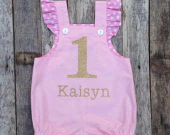 Pink and Gold First Birthday Bubble Romper
