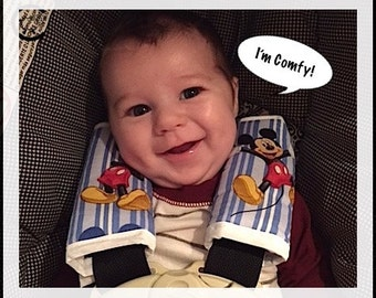 Car Seat or Toddler Seat Belt Cover Set ~  Colorful Mickey