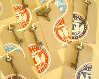 7 vintage skeleton keys on handmade cards, antique keys, ready-to-give teacher gifts, handmade gift tags made with vintage luggage labels