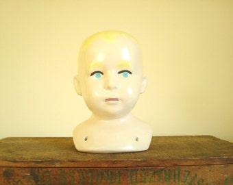 Antique German porcelain doll head, boy or girl, blond doll head, unmounted antique china doll head, doll maker supply, curiosity display