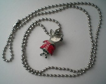 Silver Tone Metal Pig Charm with Red Enamel Dress On Ball Chain