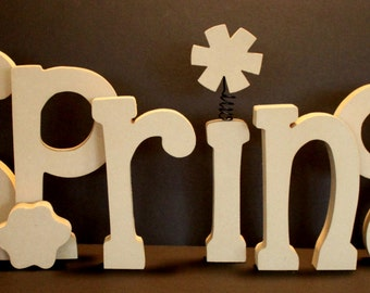 SPRING unfinished wood letters