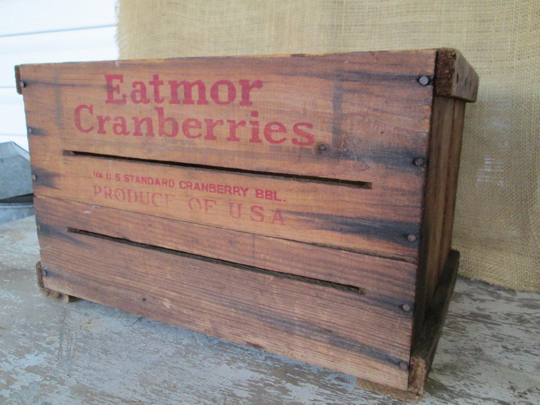 canneberge caisse en bois bo te en bois vintage rangement. Black Bedroom Furniture Sets. Home Design Ideas