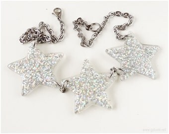 Silver Star Necklace, Sparkly, Stainless Steel, Bib
