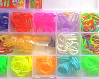 1 box DIY loom rubber band findings with s clip , charm and pvc hook