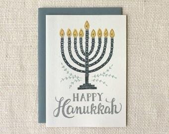 Sale 50% Off - Hanukkah Card - Menorah