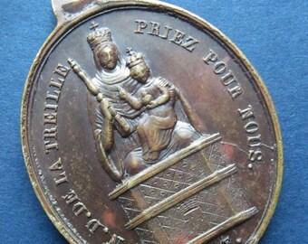 Jesus And Mary Madonna And Child Religious Medal Antique Notre Dame De La Treille 1854 Pendant SS-361
