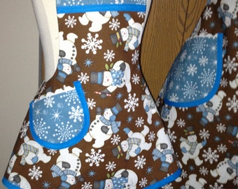 Mother-Daughter Winter Apron Set from Stella Jean's Sweetie Pie Snowmen Fabric