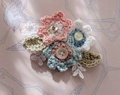 Soft flower brooch or pin