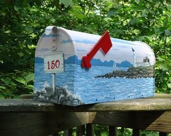 Hand Painted Sunrise Mailbox,  Maine Coast Lighthouse Mailbox, Beach Decor Housewarming Gift