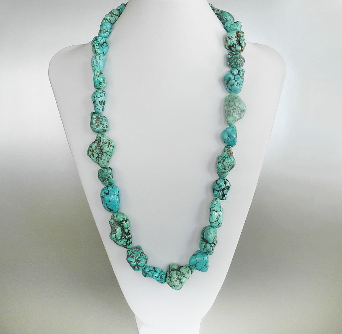 turquoise necklace chunky turquoise nugget necklace