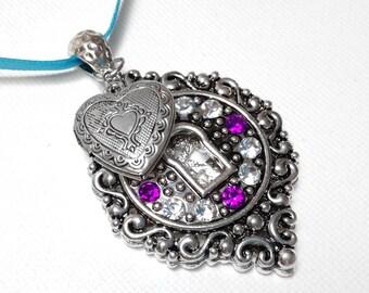 Memorial Photo Charm, Wedding Bouquet Jewelry - Purple Rhinestone Keyhole Pendant w Silver Heart Locket - Includes Printing Service