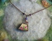 Broken China Necklace, Tiny Flowers, Recycled Broken China, Handmade Bezel